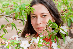 Closeup portrait in spring blossom Royalty Free Stock Photo