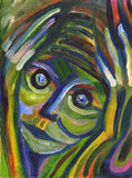 Closeup portrait of really stressed out person. Negative human emotions, facial expressions. Colorful painting Royalty Free Stock Images
