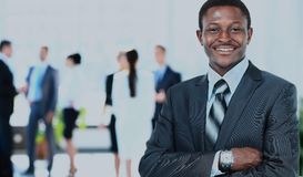 Peaceful african american businessman in office Stock Images