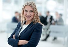 Portrait of successful business woman on the background of the office royalty free stock images