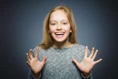 Closeup portrait successful happy girl isolated grey background. stock images