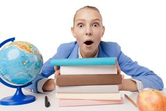 Closeup portrait surprised overwhelmed student Stock Photo