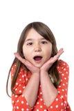 Closeup portrait of a surprised pretty little girl Stock Image