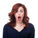 Closeup portrait of surprised young lady isolated Stock Photography