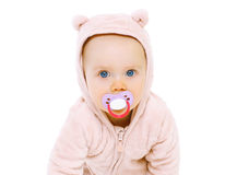Closeup portrait of sweet baby with pacifier Royalty Free Stock Images
