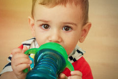 Closeup portrait of sweet boy with big eyes Royalty Free Stock Images