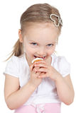 Closeup portrait of sweet little girl with cake Royalty Free Stock Photography