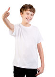 Closeup portrait of a teen  showing thumbs up Stock Photos