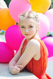 Closeup portrait of tender teenager with balloons Stock Image