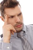 Closeup portrait of thinking man Royalty Free Stock Photography