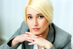 Closeup portrait of a thoughtful businesswoman Royalty Free Stock Photography