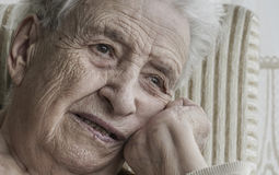 Closeup portrait of thoughtful senior woman Royalty Free Stock Photos