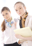 Closeup portrait of two female business executives Royalty Free Stock Photo