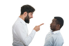 Closeup portrait of two grown mad men arguing, Stock Photos