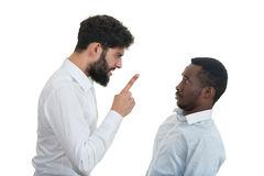 Closeup portrait of two grown mad men arguing, royalty free stock photo