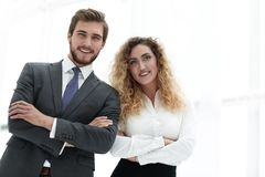 Portrait of two leading specialists of the company. Closeup.portrait of two leading specialists of the company Royalty Free Stock Photo