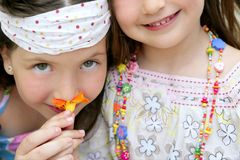 Closeup portrait of two little girl sisters Stock Images