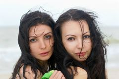 Two pretty young women Stock Images