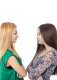 Closeup portrait of two teenage girls standing face to face Stock Photos
