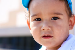 Closeup portrait of a two-year-old boy. Outdoor Stock Photos