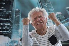 Closeup portrait, upset, senior man stock photo