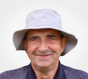 Closeup portrait of a very happy aged man Royalty Free Stock Photography