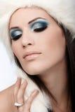 Closeup portrait of winter beauty Stock Photos