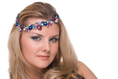 Closeup portrait of woman with adornment in hair Royalty Free Stock Image