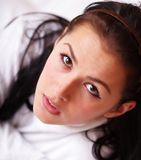 Closeup portrait of a woman in bed Royalty Free Stock Image