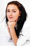 Closeup portrait of a woman in bed Royalty Free Stock Photos