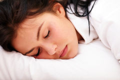 Closeup portrait of a woman in bed Royalty Free Stock Photography