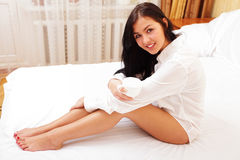 Closeup portrait of a woman in bed Stock Images