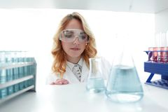 Portrait of a woman biologist in the lab. Closeup.portrait of a woman biologist in the lab Stock Photos