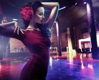 Closeup portrait of a woman dancing flamenco Stock Image