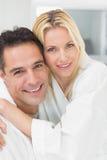 Closeup portrait of a woman embracing man Royalty Free Stock Image