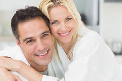 Closeup portrait of a woman embracing man Royalty Free Stock Photography