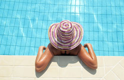 Closeup portrait of woman enjoying swimming pool Royalty Free Stock Photos