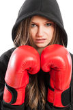 Closeup portrait of a woman fighter Royalty Free Stock Image
