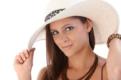 Closeup portrait of woman in hat Royalty Free Stock Photos