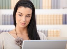 Closeup portrait of woman with laptop Stock Images