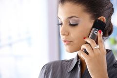 Closeup portrait of woman on mobile Stock Photo