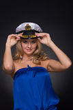 Closeup portrait of woman in sailor cap Royalty Free Stock Image