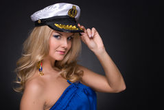 Closeup portrait of woman in sailor cap Royalty Free Stock Image