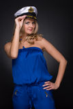 Closeup portrait of woman in sailor cap Royalty Free Stock Photography