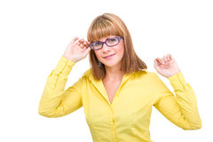 Closeup portrait of a woman wearing glasses Royalty Free Stock Image