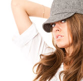 Closeup portrait of woman on white Royalty Free Stock Image