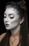 Closeup portrait of woman with white make up Royalty Free Stock Images