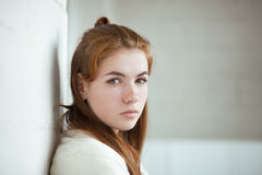 Closeup portrait of young adorable redhead woman wrapped in a white knitted blanket posing near white wall indoor natural light. Closeup portrait of young Stock Photos