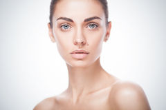 Closeup portrait of young adult woman with clean fresh skin Royalty Free Stock Photos