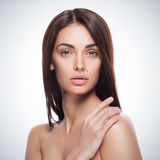 Closeup portrait of young adult woman with clean fresh skin Royalty Free Stock Image